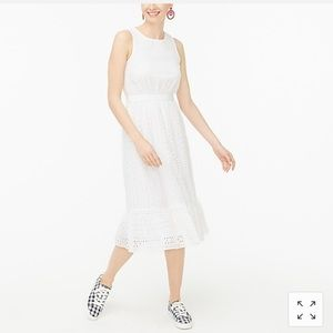 Eyelet-embroidered tiered midi dress NWT